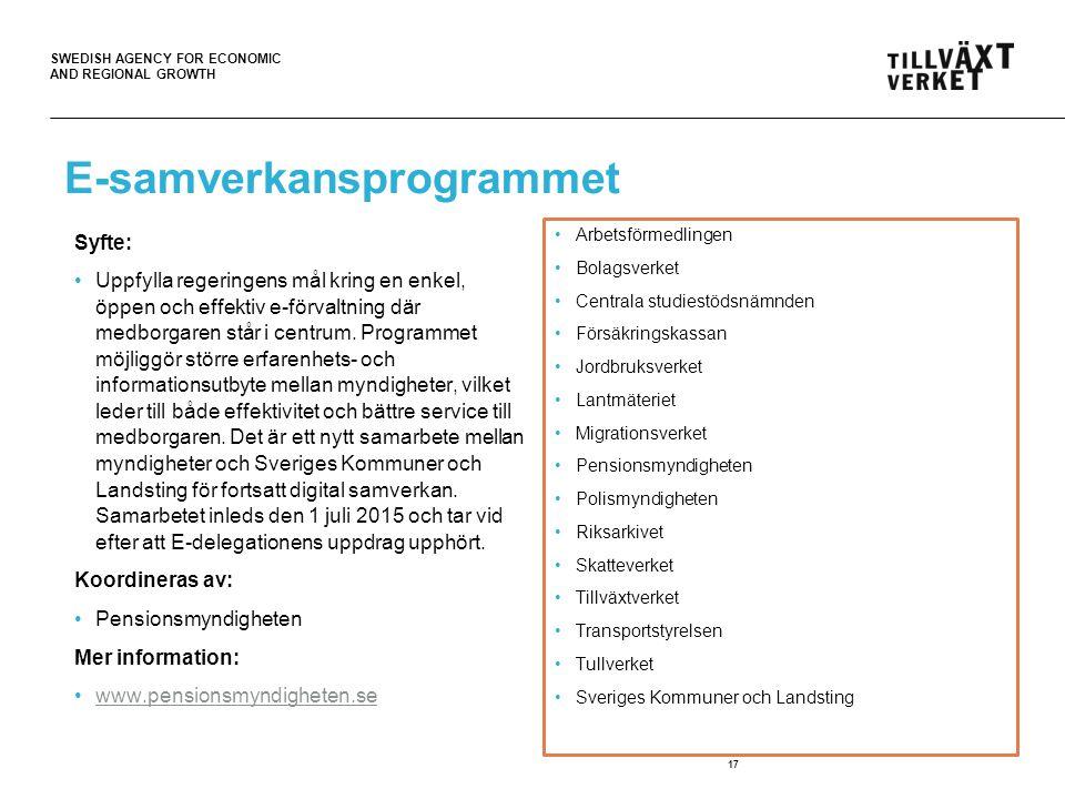 SWEDISH AGENCY FOR ECONOMIC AND REGIONAL GROWTH E-samverkansprogrammet Syfte: Uppfylla regeringens mål kring en enkel, öppen och effektiv e-förvaltning där medborgaren står i centrum.