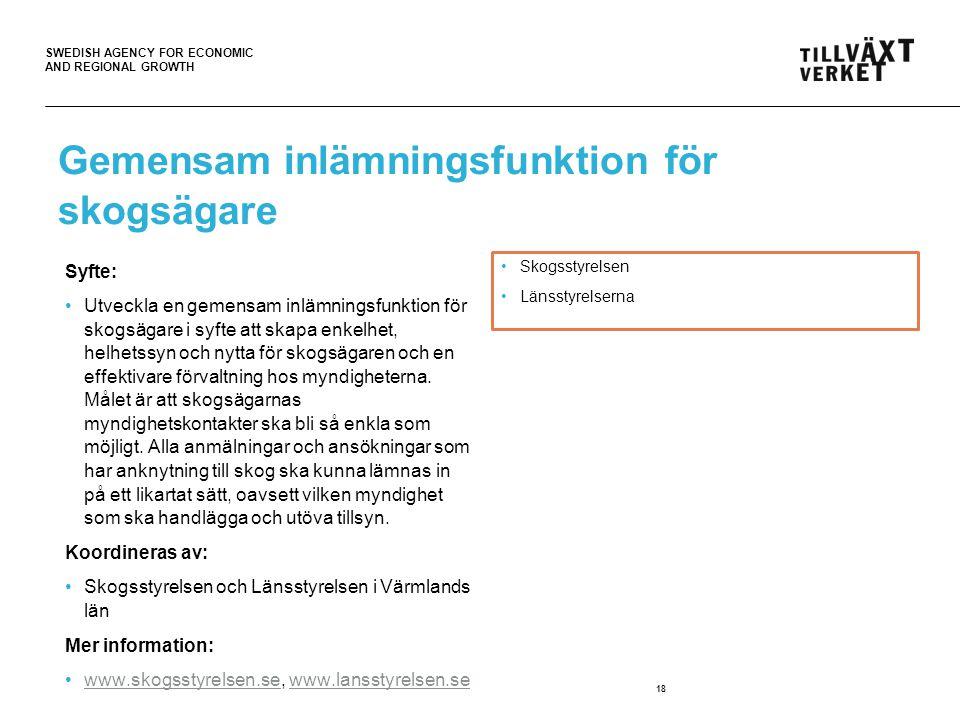 SWEDISH AGENCY FOR ECONOMIC AND REGIONAL GROWTH Gemensam inlämningsfunktion för skogsägare Syfte: Utveckla en gemensam inlämningsfunktion för skogsägare i syfte att skapa enkelhet, helhetssyn och nytta för skogsägaren och en effektivare förvaltning hos myndigheterna.