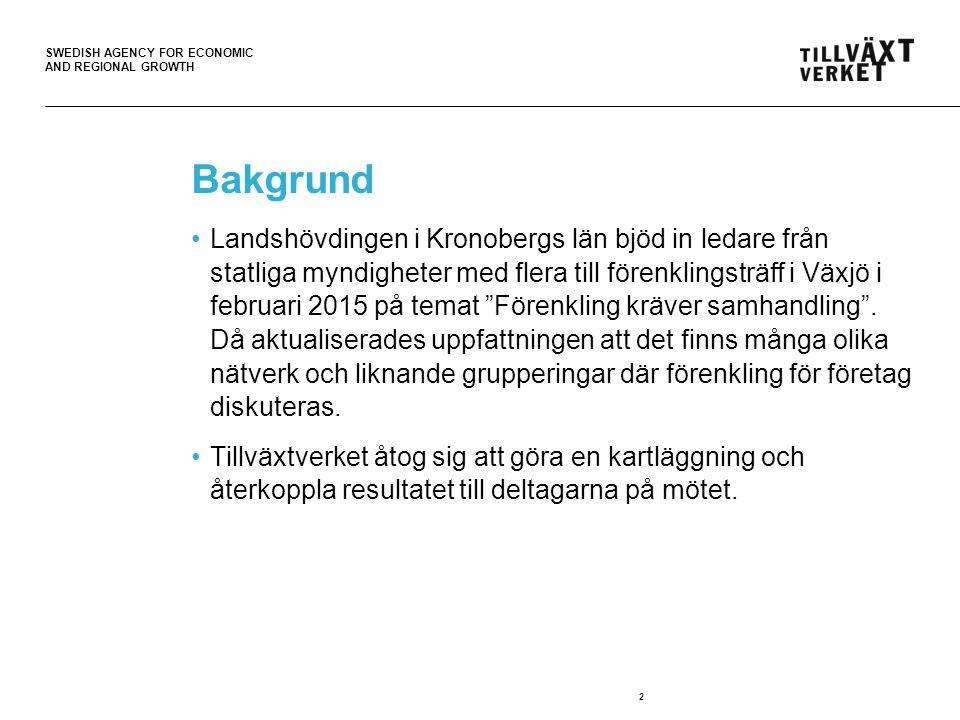 SWEDISH AGENCY FOR ECONOMIC AND REGIONAL GROWTH Nätverk för centrala myndigheter (tjänstemän) Syfte: Skapa möjligheter för centrala myndigheter som arbetar med att förenkla för företag att utbyta erfarenheter med varandra, men också att Tillväxtverket kan nå ut med stöd i deras förenklingsarbete.