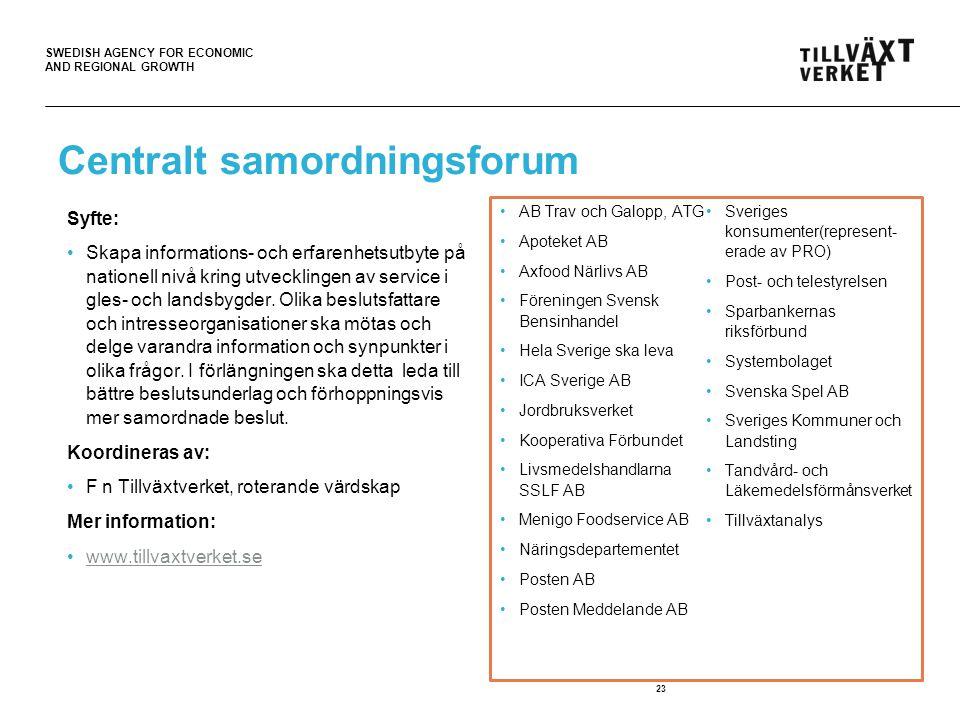 SWEDISH AGENCY FOR ECONOMIC AND REGIONAL GROWTH Centralt samordningsforum Syfte: Skapa informations- och erfarenhetsutbyte på nationell nivå kring utvecklingen av service i gles- och landsbygder.