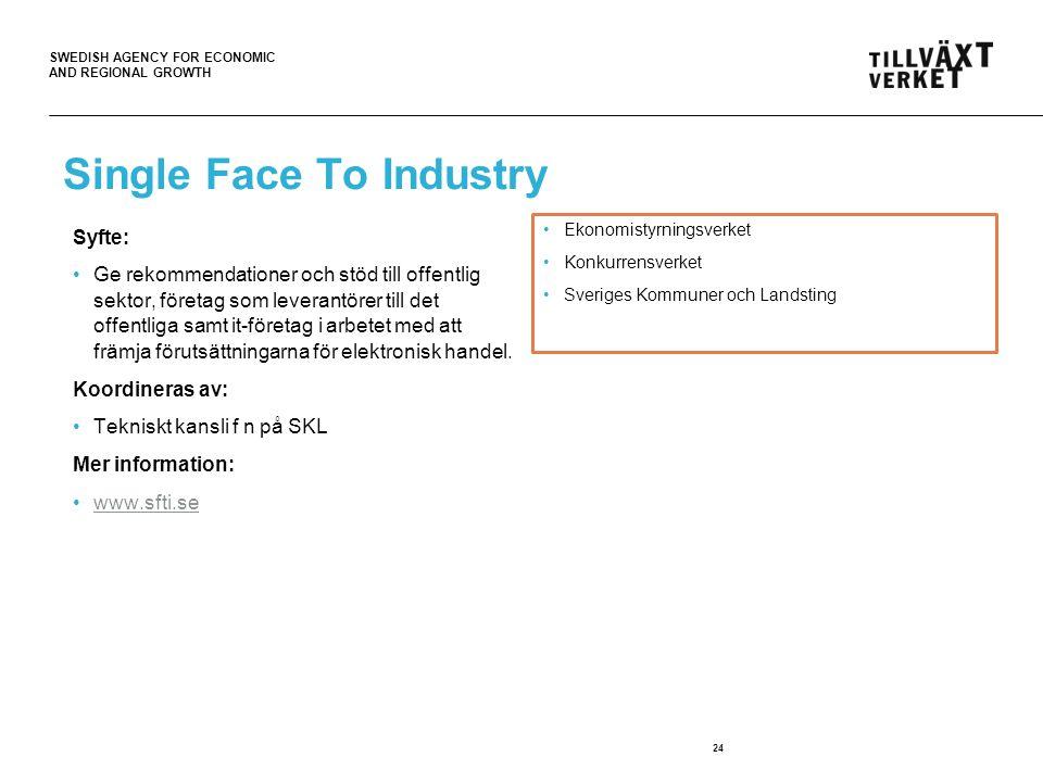 SWEDISH AGENCY FOR ECONOMIC AND REGIONAL GROWTH Single Face To Industry Syfte: Ge rekommendationer och stöd till offentlig sektor, företag som leverantörer till det offentliga samt it-företag i arbetet med att främja förutsättningarna för elektronisk handel.