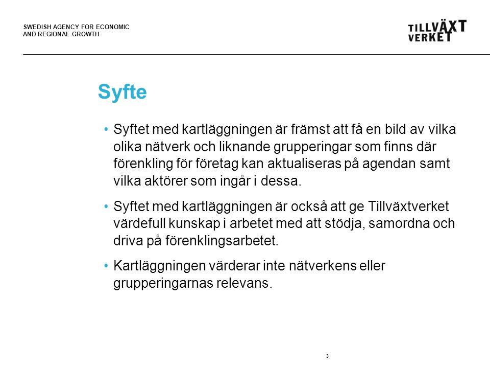 SWEDISH AGENCY FOR ECONOMIC AND REGIONAL GROWTH Nätverk för kartläggande myndigheter Syfte: Främja informations- och erfarenhetsutbyte mellan myndigheter som arbetar med att kartlägga uppgiftskrav som myndigheter riktar mot företag inom ramen för arbetet med förenklat och minskat uppgiftslämnande.
