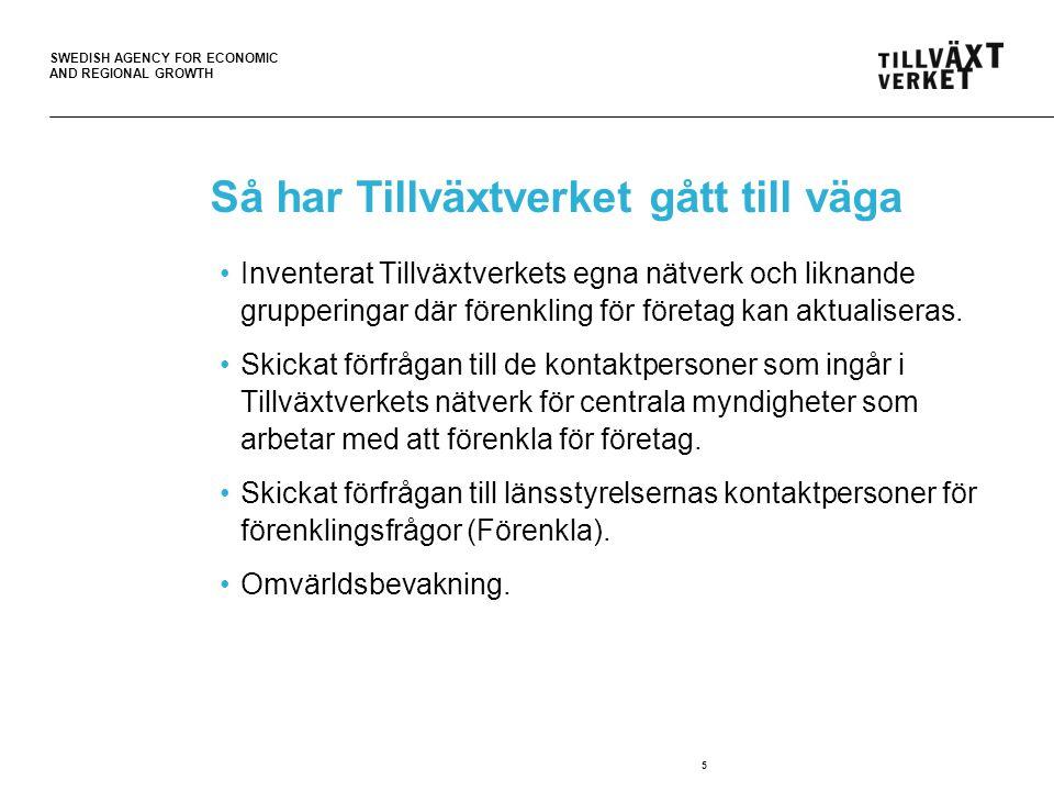 SWEDISH AGENCY FOR ECONOMIC AND REGIONAL GROWTH Myndighetssamarbetet Starta och driva företag Syfte: Leverera samlad information och service från myndigheter till den som driver företag eller som vill starta företag.