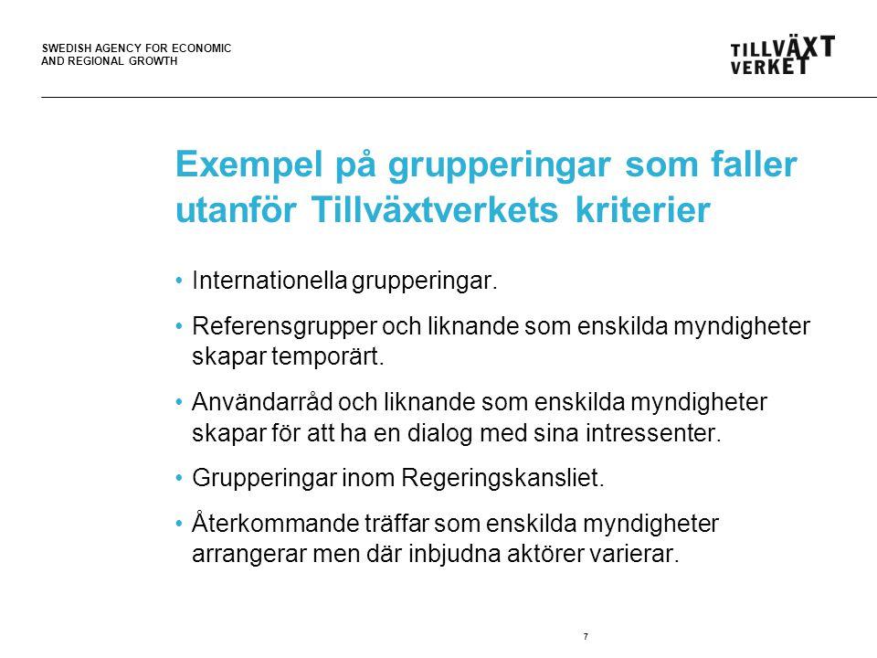 SWEDISH AGENCY FOR ECONOMIC AND REGIONAL GROWTH Några slutsatser och reflektioner (1) Det finns inte så många grupperingar på förenklingsområdet som det initialt antogs.