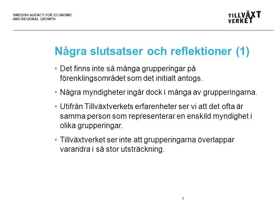 SWEDISH AGENCY FOR ECONOMIC AND REGIONAL GROWTH Några slutsatser och reflektioner (2) Grupperingarna initieras, organiseras och styrs på olika sätt.