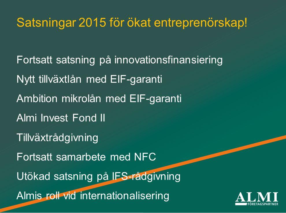 Från idéer till framgångsrika företag Satsningar 2015 för ökat entreprenörskap.