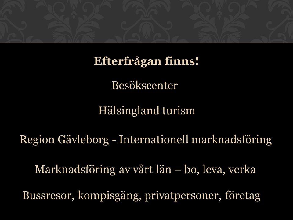 Besökscenter Marknadsföring av vårt län – bo, leva, verka Hälsingland turism Region Gävleborg - Internationell marknadsföring Efterfrågan finns! Bussr
