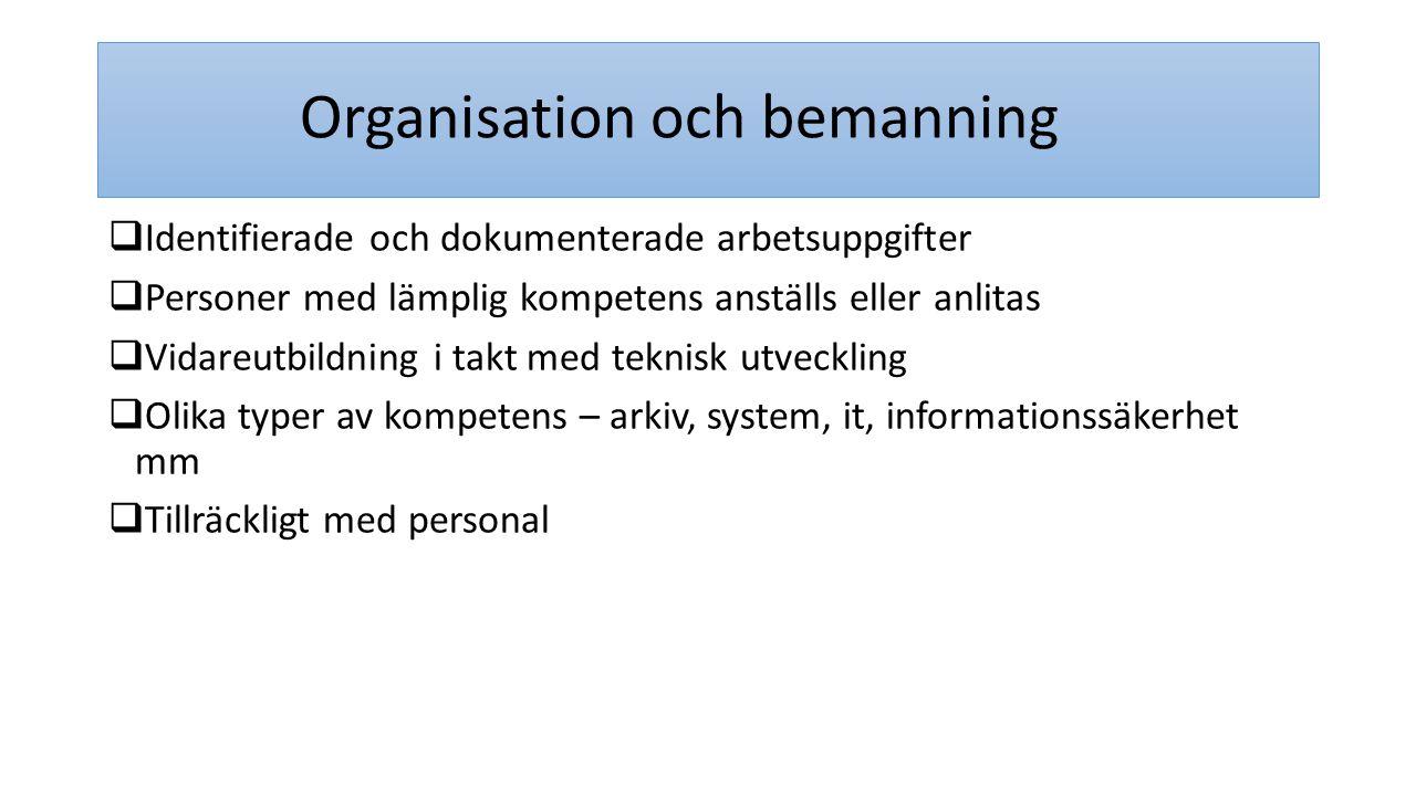 Organisation och bemanning  Identifierade och dokumenterade arbetsuppgifter  Personer med lämplig kompetens anställs eller anlitas  Vidareutbildnin
