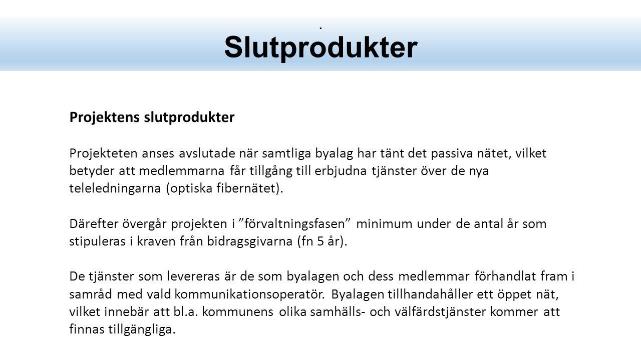 Framgångsfaktorer -Ett genomtänkt och gott samarbete med berörda kommuner -Korta beslutsvägar med våra olika kontrakterade leverantörer av: -Det passiva nätets byggnad (Eltel) -Kommunikationsoperatör (Zitius) -Samt drift och underhåll (meddelas senare) -Projektorganisationen byggs upp professionellt -Logistikfunktionerna fungerande 24/7.
