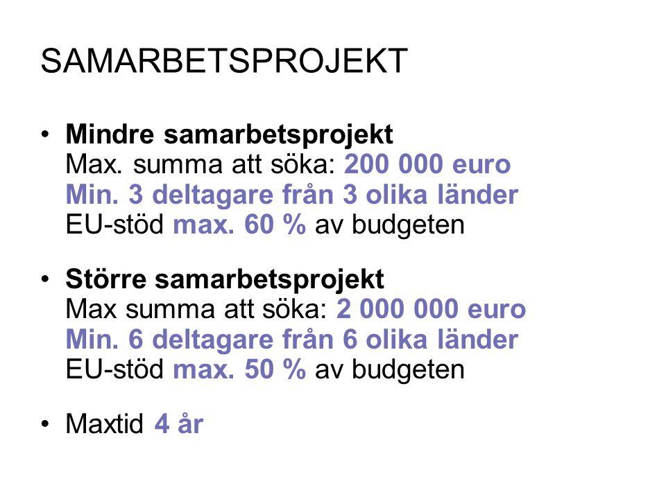 SAMARBETSPROJEKT Mindre samarbetsprojekt Max. summa att söka: 200 000 euro Min. 3 deltagare från 3 olika länder EU-stöd max. 60 % av budgeten Större s