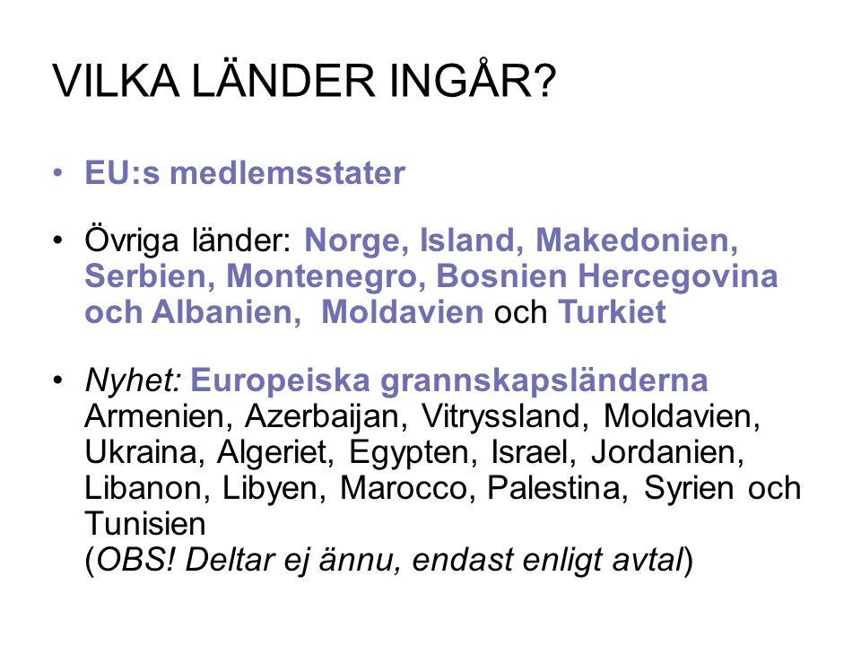 VILKA LÄNDER INGÅR? EU:s medlemsstater Övriga länder: Norge, Island, Makedonien, Serbien, Montenegro, Bosnien Hercegovina och Albanien, Moldavien och