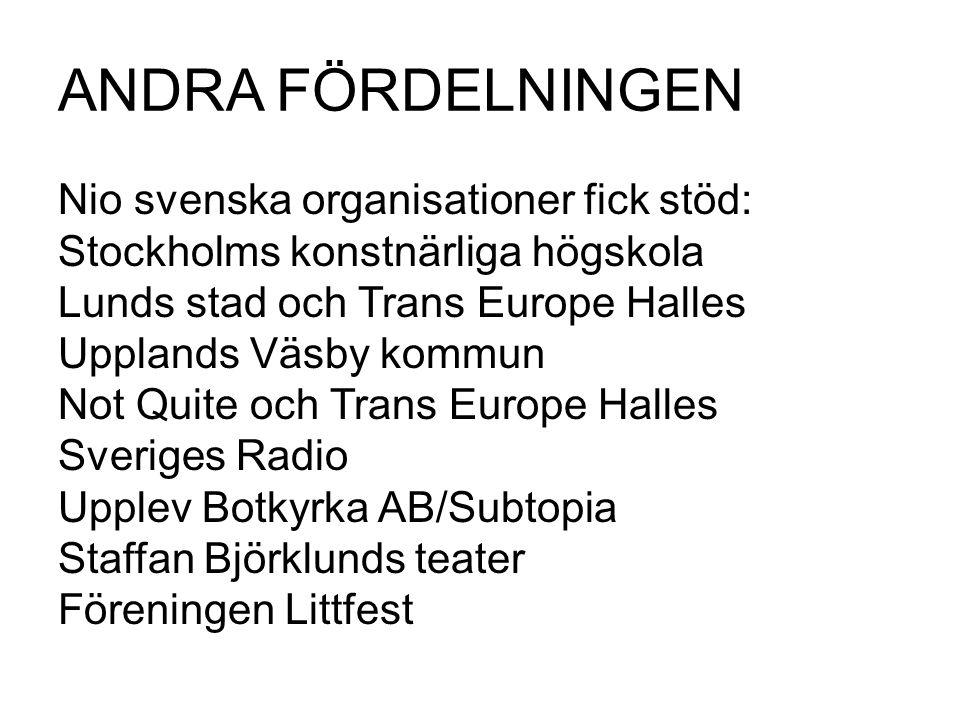 ANDRA FÖRDELNINGEN Nio svenska organisationer fick stöd: Stockholms konstnärliga högskola Lunds stad och Trans Europe Halles Upplands Väsby kommun Not