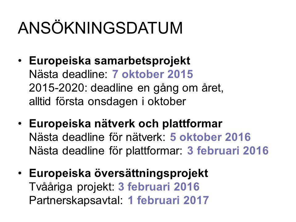 ANSÖKNINGSDATUM Europeiska samarbetsprojekt Nästa deadline: 7 oktober 2015 2015-2020: deadline en gång om året, alltid första onsdagen i oktober Europ
