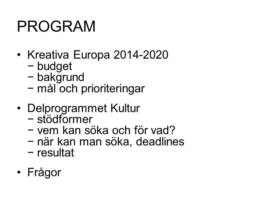 KREATIVA EUROPA 2014-2020 Programförslaget antogs 2011 Budget: 1,8 miljarder euro, + 37 % Programmet trädde i kraft 1 januari 2014 Budget: 1,462 miljarder euro, + 9 % Sammanslagning av tidigare programmen Kultur, MEDIA och MEDIA Mundus