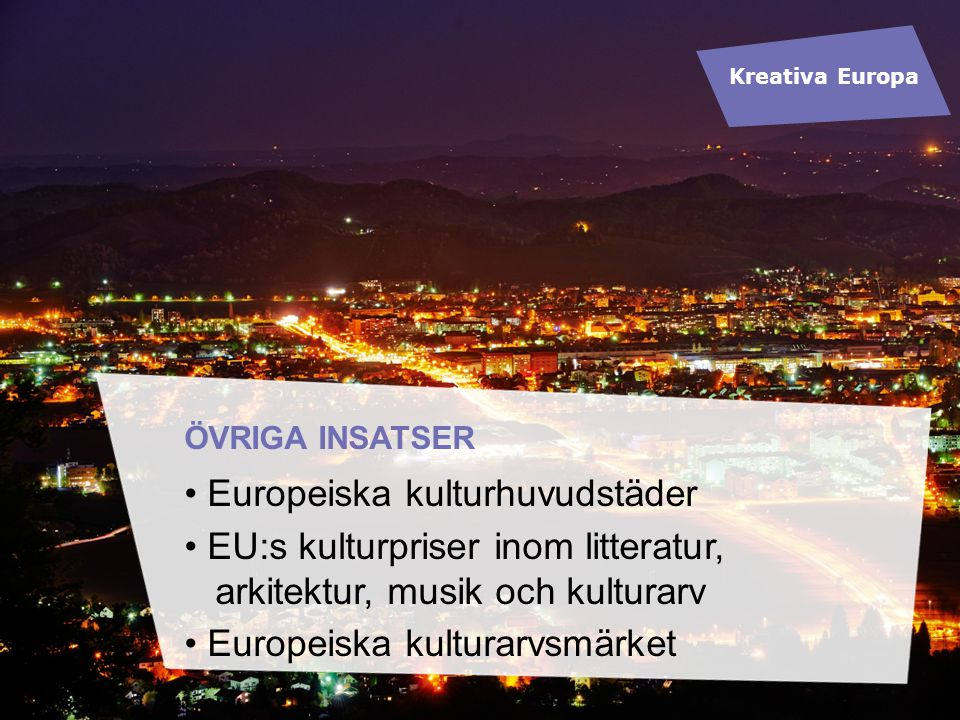 ÖVRIGA INSATSER Europeiska kulturhuvudstäder EU:s kulturpriser inom litteratur, arkitektur, musik och kulturarv Europeiska kulturarvsmärket Kreativa E