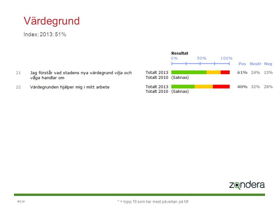 Bild 24 Värdegrund Index: 2013: 51% * = topp 10 som har mest påverkan på MI