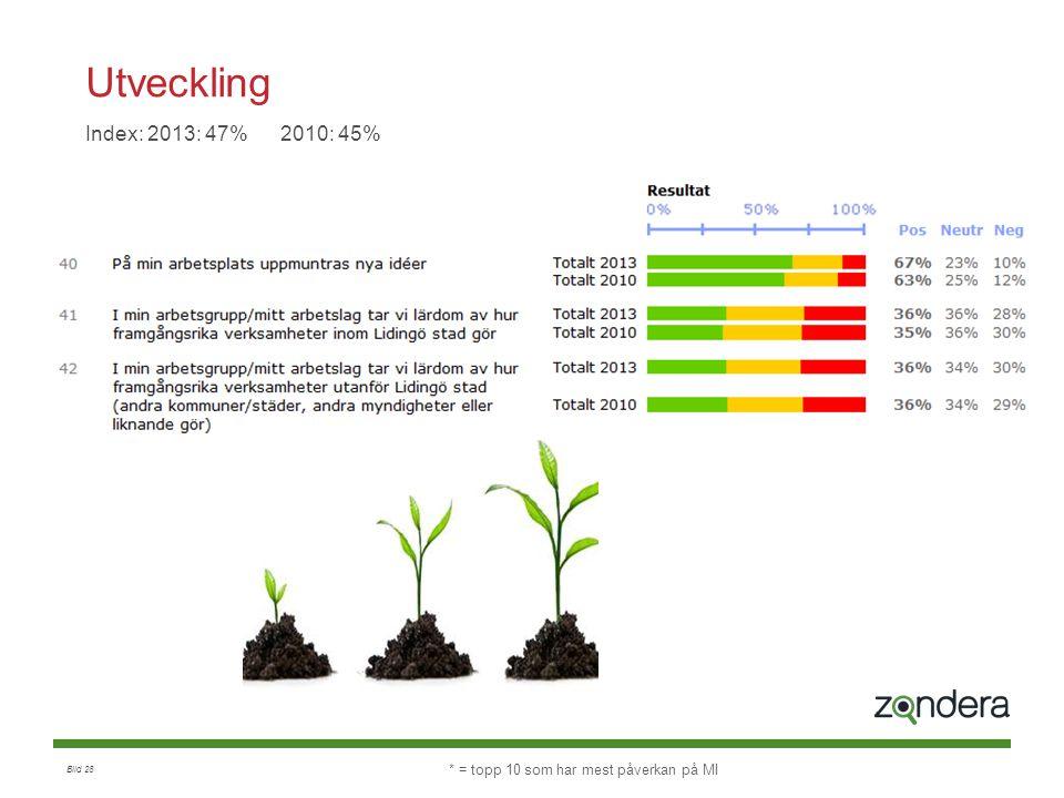 Bild 28 Utveckling Index: 2013: 47% 2010: 45% * = topp 10 som har mest påverkan på MI