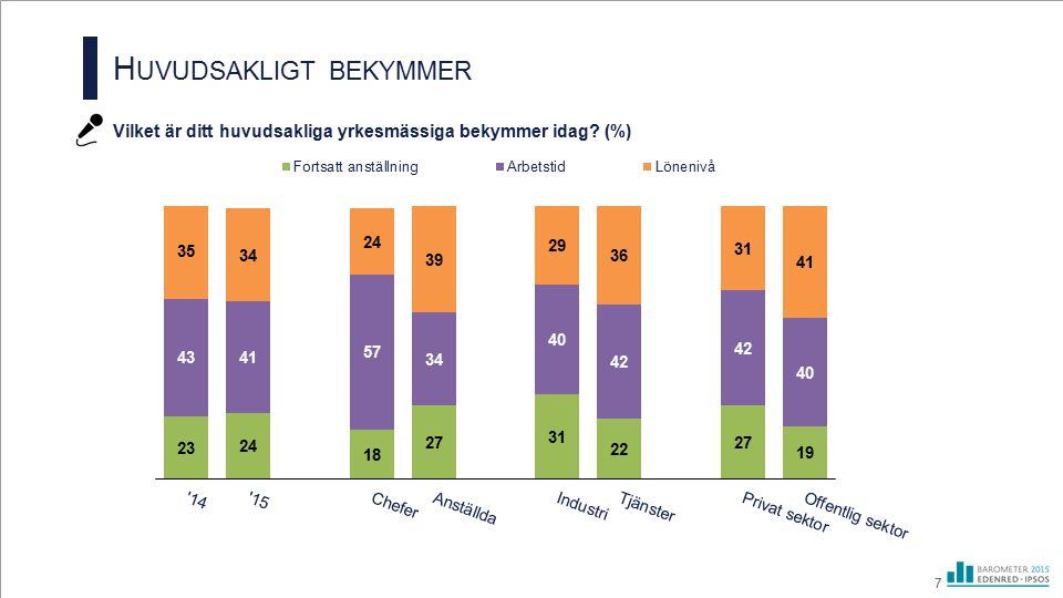 H UVUDSAKLIGT BEKYMMER Vilket är ditt huvudsakliga yrkesmässiga bekymmer idag? (%) 7