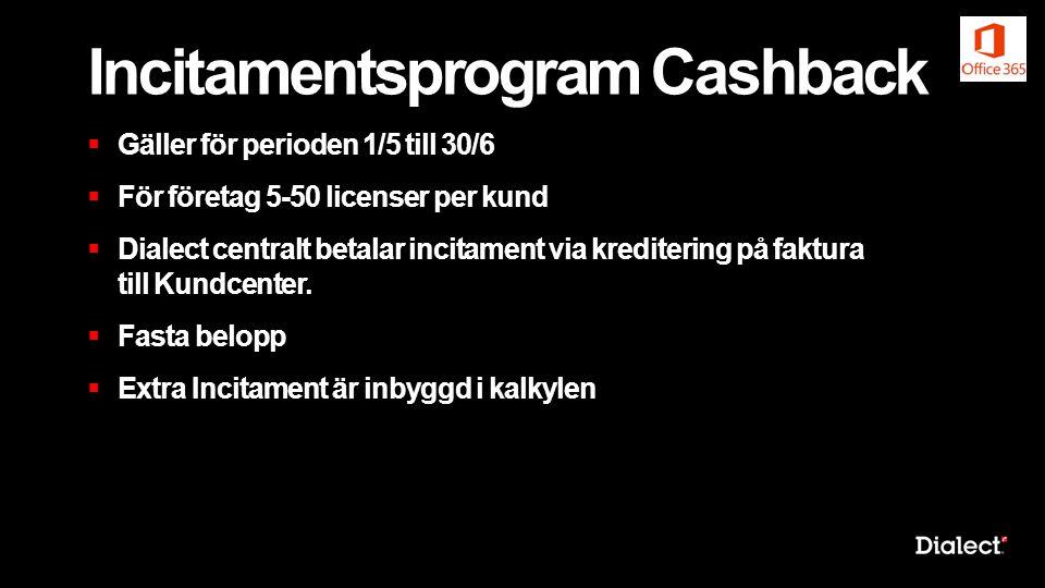 Incitamentsprogram Cashback  Gäller för perioden 1/5 till 30/6  För företag 5-50 licenser per kund  Dialect centralt betalar incitament via kredite