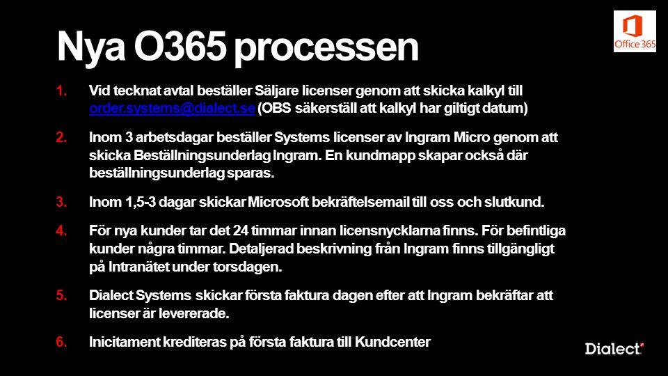 Nya O365 processen 1.Vid tecknat avtal beställer Säljare licenser genom att skicka kalkyl till order.systems@dialect.se (OBS säkerställ att kalkyl har