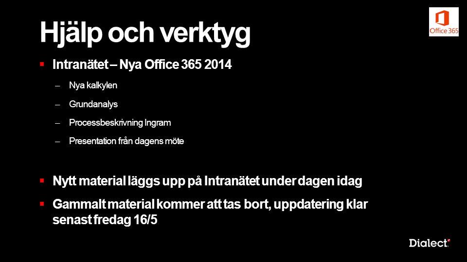 Hjälp och verktyg  Intranätet – Nya Office 365 2014 ̶ Nya kalkylen ̶ Grundanalys ̶ Processbeskrivning Ingram ̶ Presentation från dagens möte  Nytt m