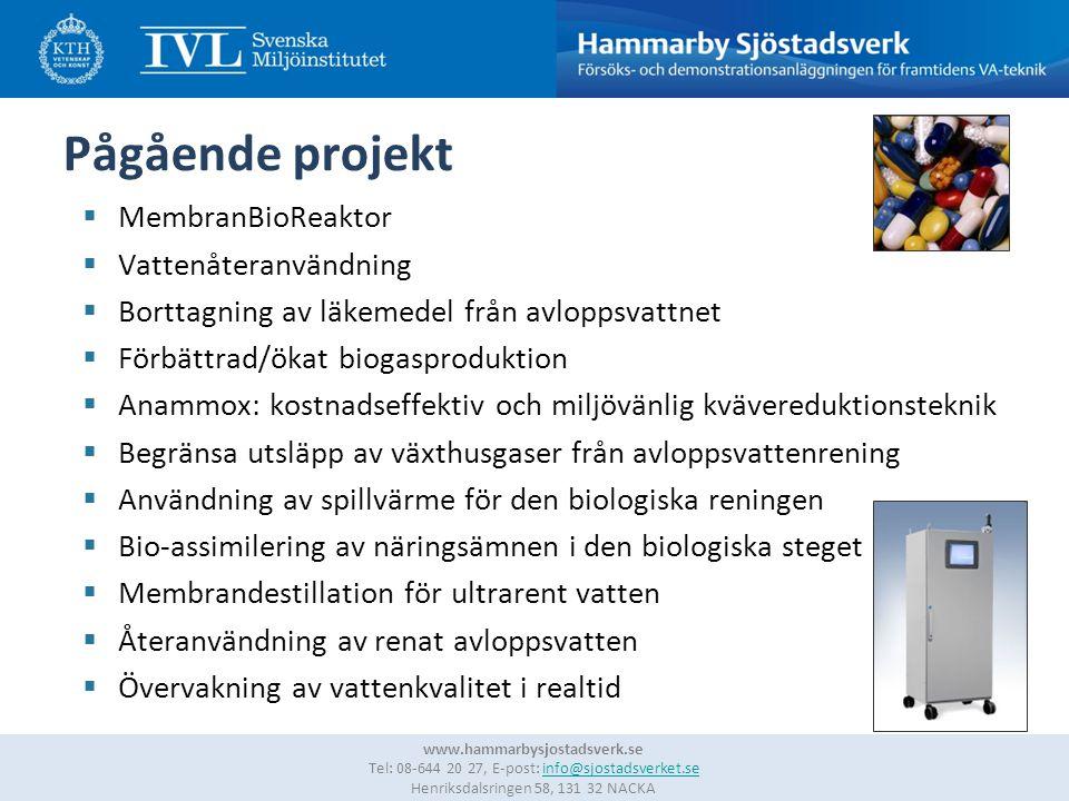 12 www.hammarbysjostadsverk.se Tel: 08-644 20 27, E-post: info@sjostadsverket.se Henriksdalsringen 58, 131 32 NACKAinfo@sjostadsverket.se Pågående projekt  MembranBioReaktor  Vattenåteranvändning  Borttagning av läkemedel från avloppsvattnet  Förbättrad/ökat biogasproduktion  Anammox: kostnadseffektiv och miljövänlig kvävereduktionsteknik  Begränsa utsläpp av växthusgaser från avloppsvattenrening  Användning av spillvärme för den biologiska reningen  Bio-assimilering av näringsämnen i den biologiska steget  Membrandestillation för ultrarent vatten  Återanvändning av renat avloppsvatten  Övervakning av vattenkvalitet i realtid