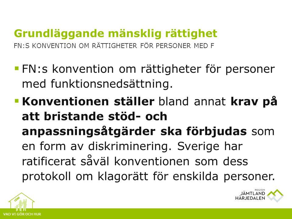 VAD VI GÖR OCH HUR  FN:s konvention om rättigheter för personer med funktionsnedsättning.  Konventionen ställer bland annat krav på att bristande st