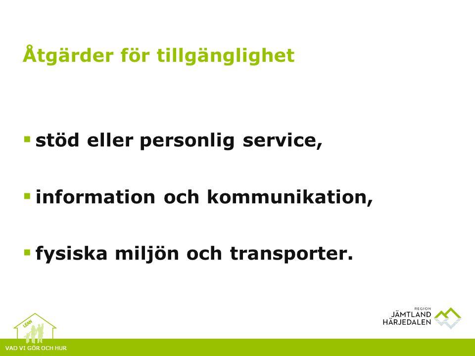 VAD VI GÖR OCH HUR  stöd eller personlig service,  information och kommunikation,  fysiska miljön och transporter. Åtgärder för tillgänglighet