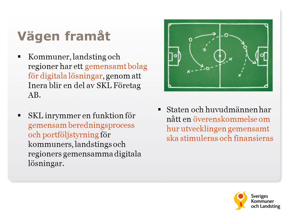 Vägen framåt  Kommuner, landsting och regioner har ett gemensamt bolag för digitala lösningar, genom att Inera blir en del av SKL Företag AB.  SKL i