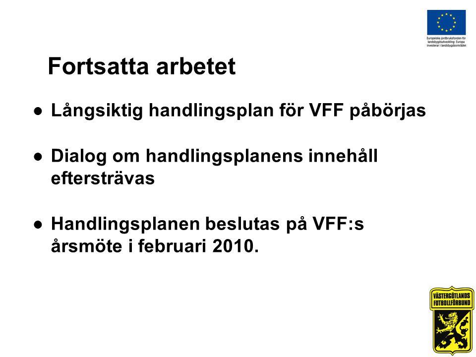 Fortsatta arbetet Långsiktig handlingsplan för VFF påbörjas Dialog om handlingsplanens innehåll eftersträvas Handlingsplanen beslutas på VFF:s årsmöte i februari 2010.