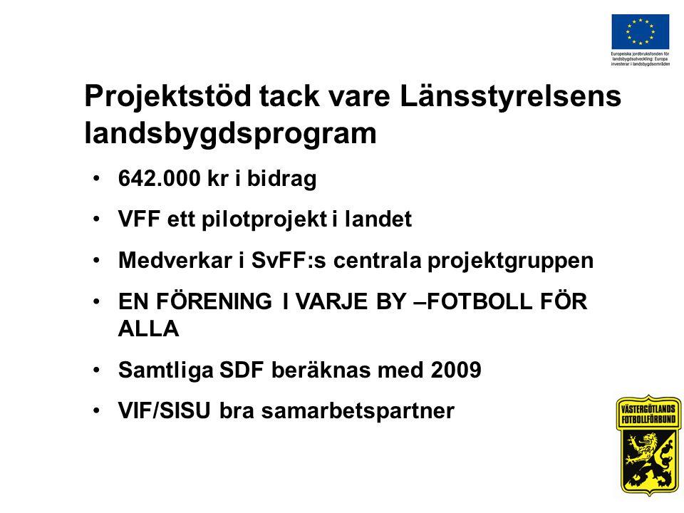 Projektstöd tack vare Länsstyrelsens landsbygdsprogram 642.000 kr i bidrag VFF ett pilotprojekt i landet Medverkar i SvFF:s centrala projektgruppen EN FÖRENING I VARJE BY –FOTBOLL FÖR ALLA Samtliga SDF beräknas med 2009 VIF/SISU bra samarbetspartner