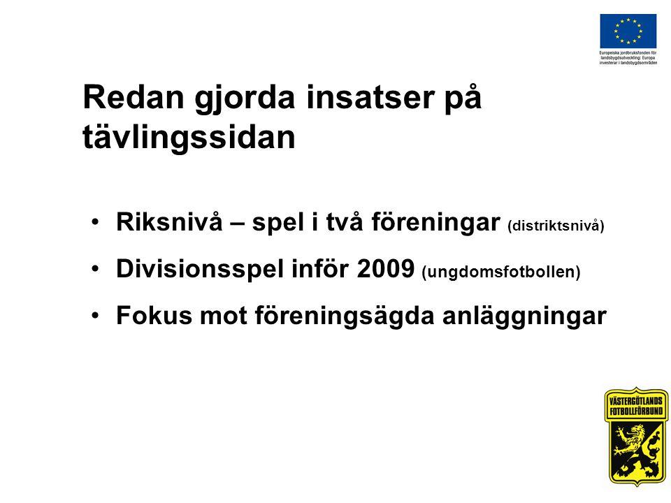 Redan gjorda insatser på tävlingssidan Riksnivå – spel i två föreningar (distriktsnivå) Divisionsspel inför 2009 (ungdomsfotbollen) Fokus mot föreningsägda anläggningar