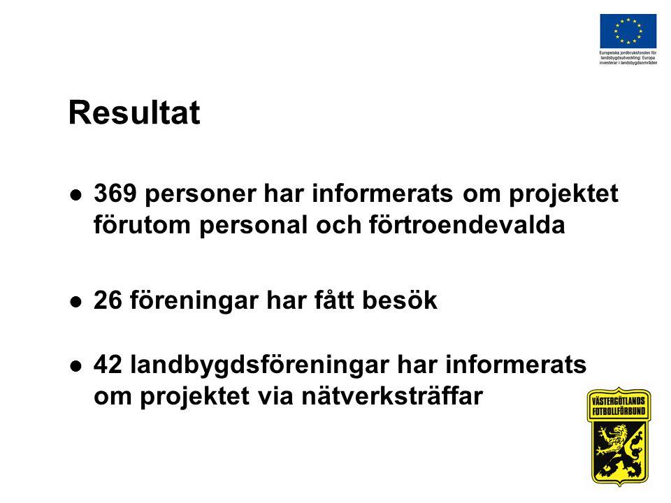Resultat 369 personer har informerats om projektet förutom personal och förtroendevalda 26 föreningar har fått besök 42 landbygdsföreningar har informerats om projektet via nätverksträffar
