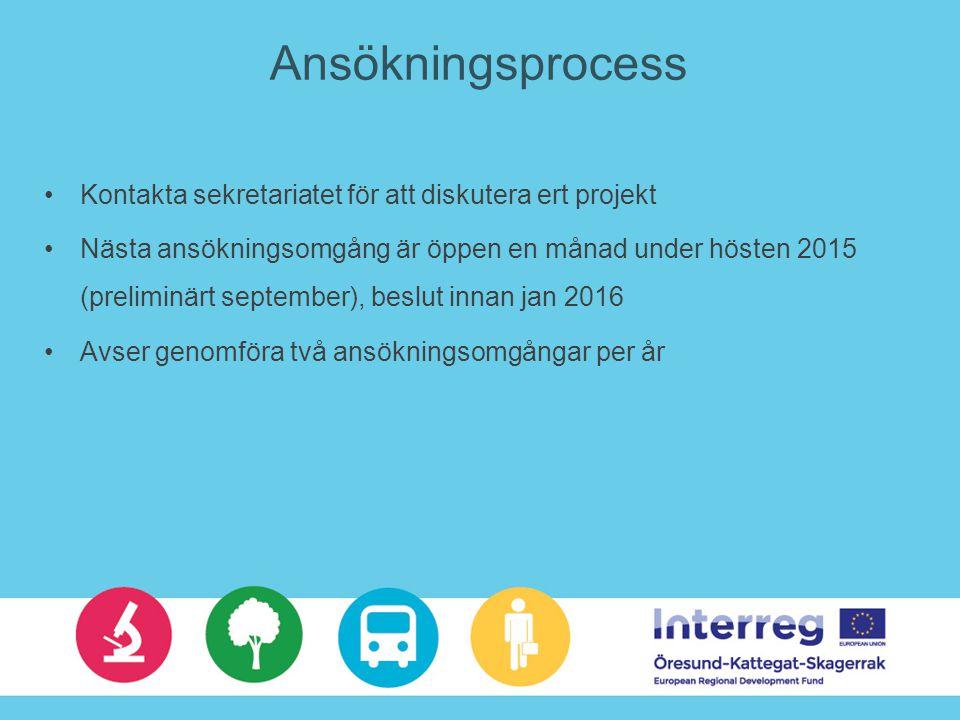 Ansökningsprocess Kontakta sekretariatet för att diskutera ert projekt Nästa ansökningsomgång är öppen en månad under hösten 2015 (preliminärt september), beslut innan jan 2016 Avser genomföra två ansökningsomgångar per år
