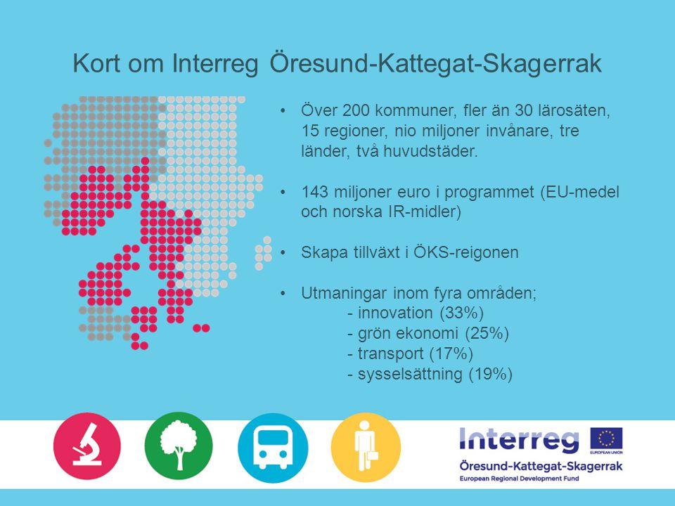 Kort om Interreg Öresund-Kattegat-Skagerrak Över 200 kommuner, fler än 30 lärosäten, 15 regioner, nio miljoner invånare, tre länder, två huvudstäder.