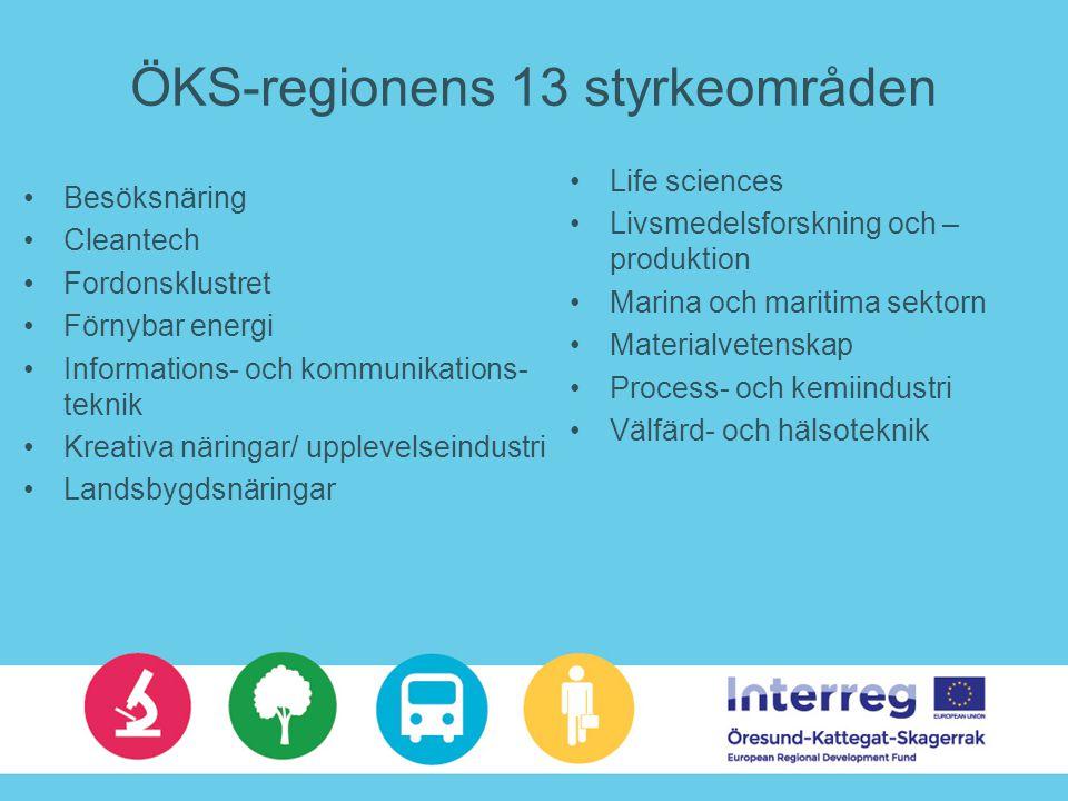 ÖKS-regionens 13 styrkeområden Besöksnäring Cleantech Fordonsklustret Förnybar energi Informations- och kommunikations- teknik Kreativa näringar/ uppl
