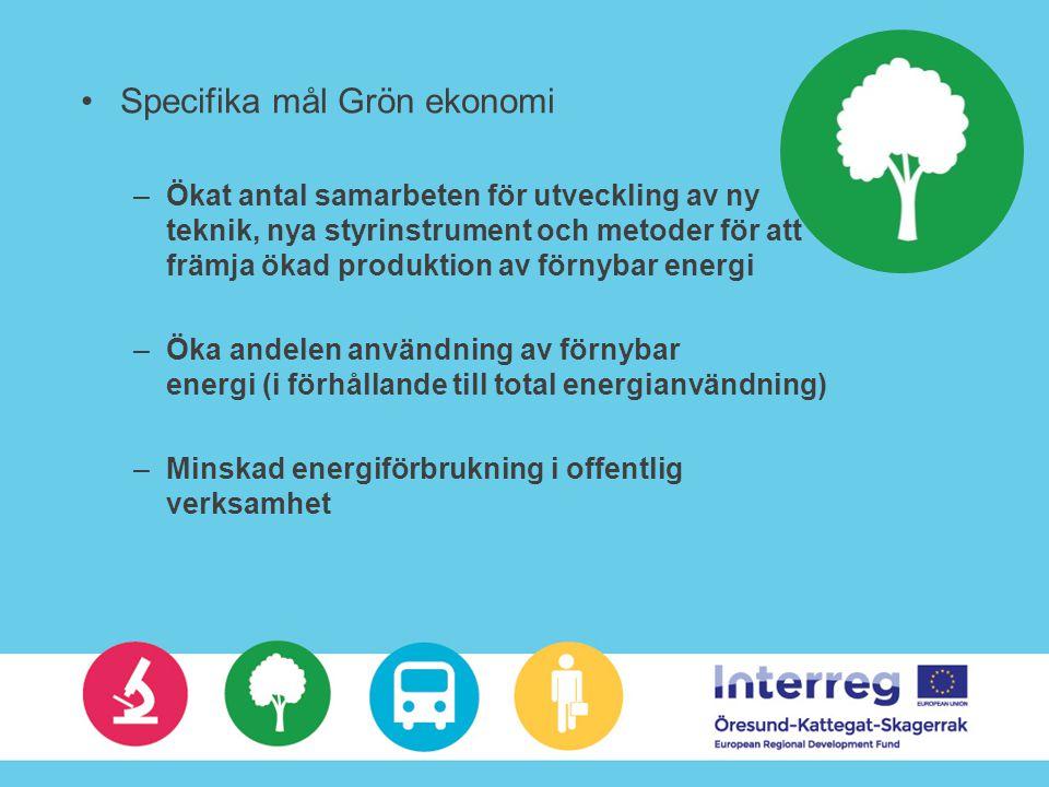Specifika mål Grön ekonomi –Ökat antal samarbeten för utveckling av ny teknik, nya styrinstrument och metoder för att främja ökad produktion av förnybar energi –Öka andelen användning av förnybar energi (i förhållande till total energianvändning) –Minskad energiförbrukning i offentlig verksamhet