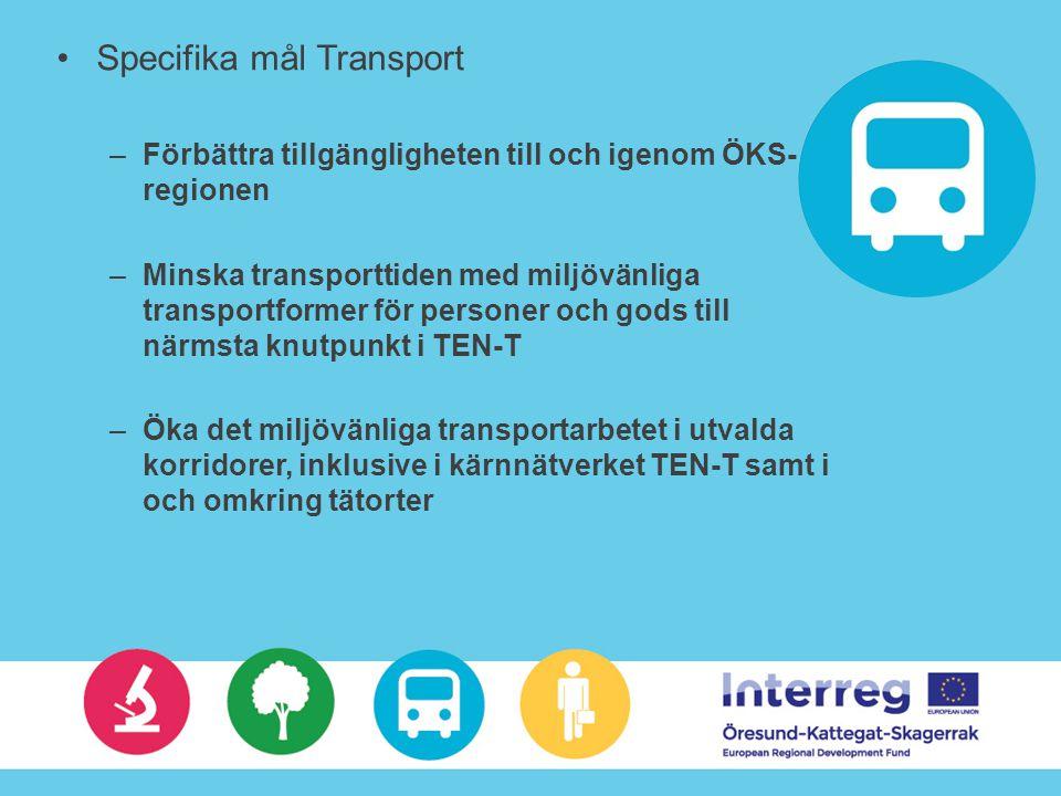 Specifika mål Transport –Förbättra tillgängligheten till och igenom ÖKS- regionen –Minska transporttiden med miljövänliga transportformer för personer