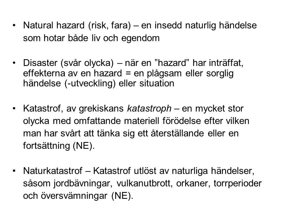 Natural hazard (risk, fara) – en insedd naturlig händelse som hotar både liv och egendom Disaster (svår olycka) – när en hazard har inträffat, effekterna av en hazard = en plågsam eller sorglig händelse (-utveckling) eller situation Katastrof, av grekiskans katastroph – en mycket stor olycka med omfattande materiell förödelse efter vilken man har svårt att tänka sig ett återställande eller en fortsättning (NE).