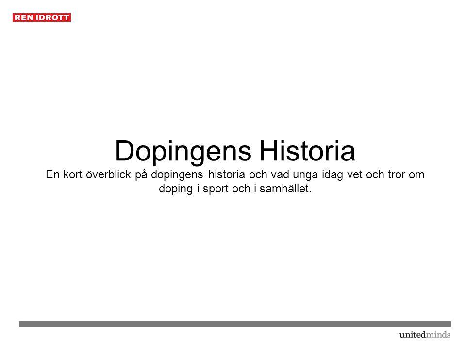 Dopingens Historia En kort överblick på dopingens historia och vad unga idag vet och tror om doping i sport och i samhället.