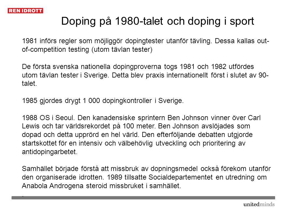 Doping på 1980-talet och doping i sport 1981 införs regler som möjliggör dopingtester utanför tävling. Dessa kallas out- of-competition testing (utom
