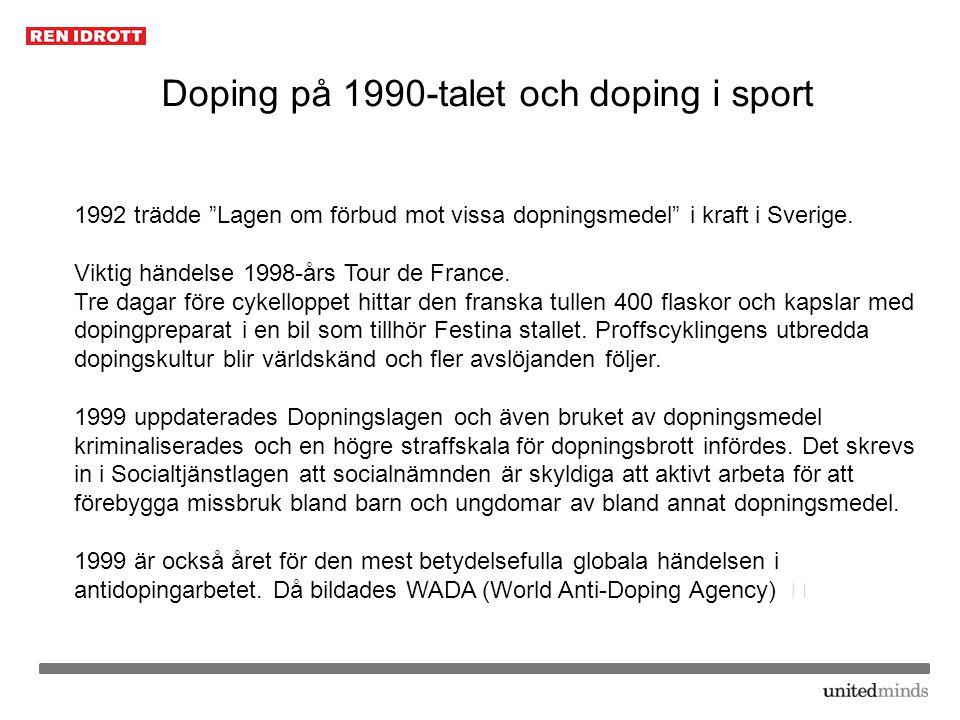 """Doping på 1990-talet och doping i sport 1992 trädde """"Lagen om förbud mot vissa dopningsmedel"""" i kraft i Sverige. Viktig händelse 1998-års Tour de Fran"""