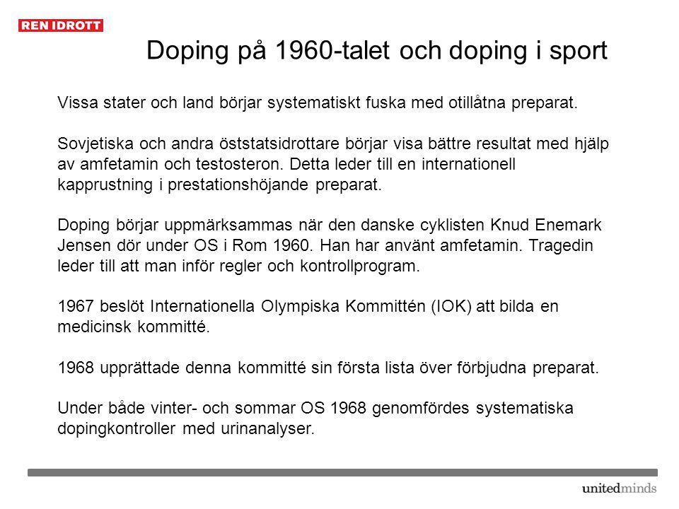 Doping på 1970-talet och doping i sport 1972 vid OS i München genomfördes dopingkontroller för första gången i stor skala.