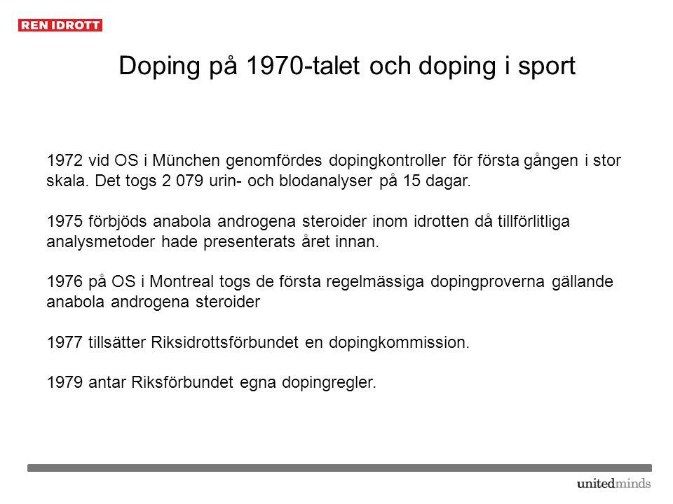 Doping på 1970-talet och doping i sport 1972 vid OS i München genomfördes dopingkontroller för första gången i stor skala. Det togs 2 079 urin- och bl