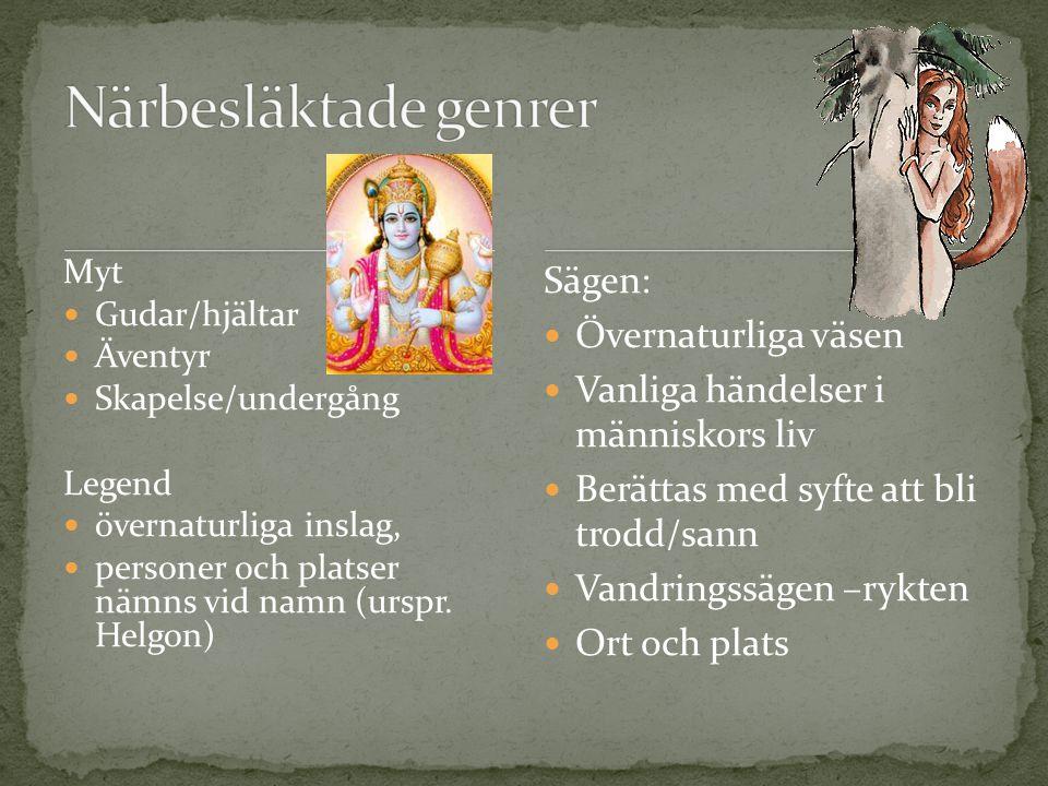 Myt Gudar/hjältar Äventyr Skapelse/undergång Legend övernaturliga inslag, personer och platser nämns vid namn (urspr. Helgon) Sägen: Övernaturliga väs