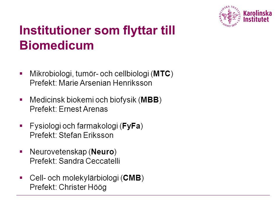 Institutioner som flyttar till Biomedicum  Mikrobiologi, tumör- och cellbiologi (MTC) Prefekt: Marie Arsenian Henriksson  Medicinsk biokemi och biof