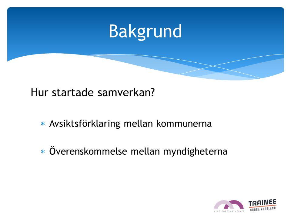 Hur startade samverkan?  Avsiktsförklaring mellan kommunerna  Överenskommelse mellan myndigheterna Bakgrund