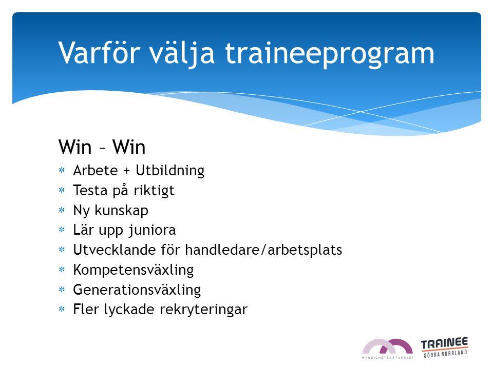 Win – Win  Arbete + Utbildning  Testa på riktigt  Ny kunskap  Lär upp juniora  Utvecklande för handledare/arbetsplats  Kompetensväxling  Genera