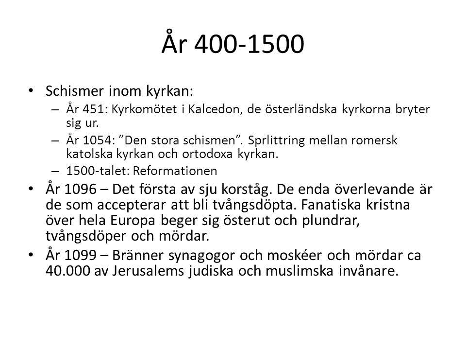 """År 400-1500 Schismer inom kyrkan: – År 451: Kyrkomötet i Kalcedon, de österländska kyrkorna bryter sig ur. – År 1054: """"Den stora schismen"""". Sprlittrin"""