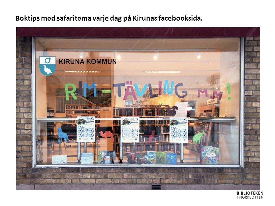 Boktips med safaritema varje dag på Kirunas facebooksida.